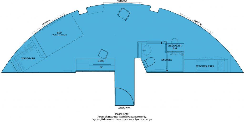 Stephenson Platinum studio room type, The Railyard, Downing Students