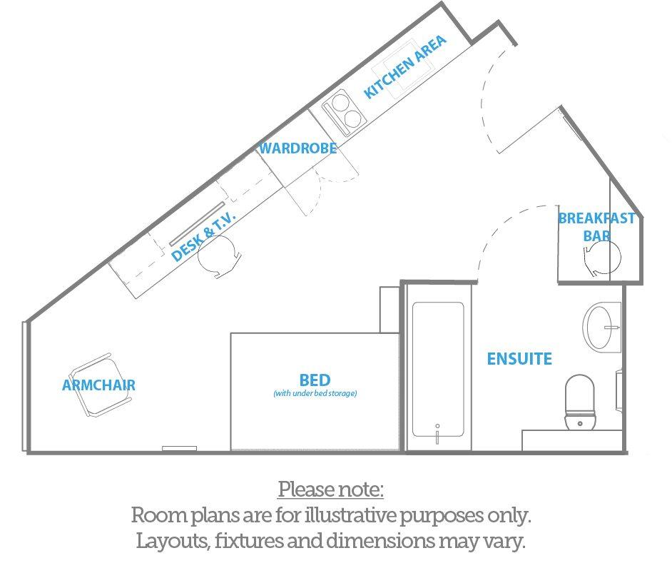 The kingfisher platinum studio room plan - Downing Students Accommodation
