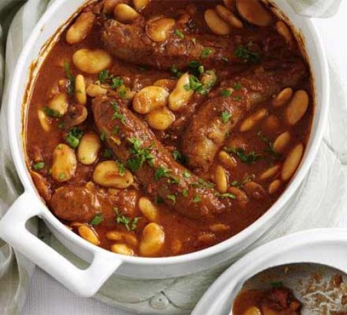 Simple bean & sausage hotpot