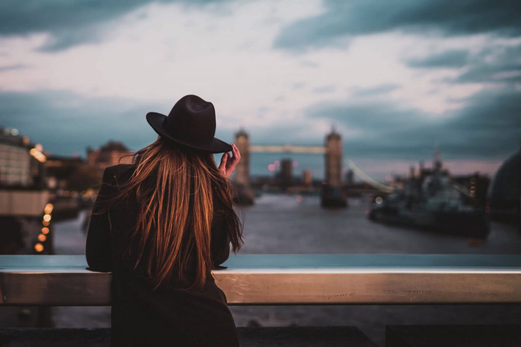 Student admiring the view in London