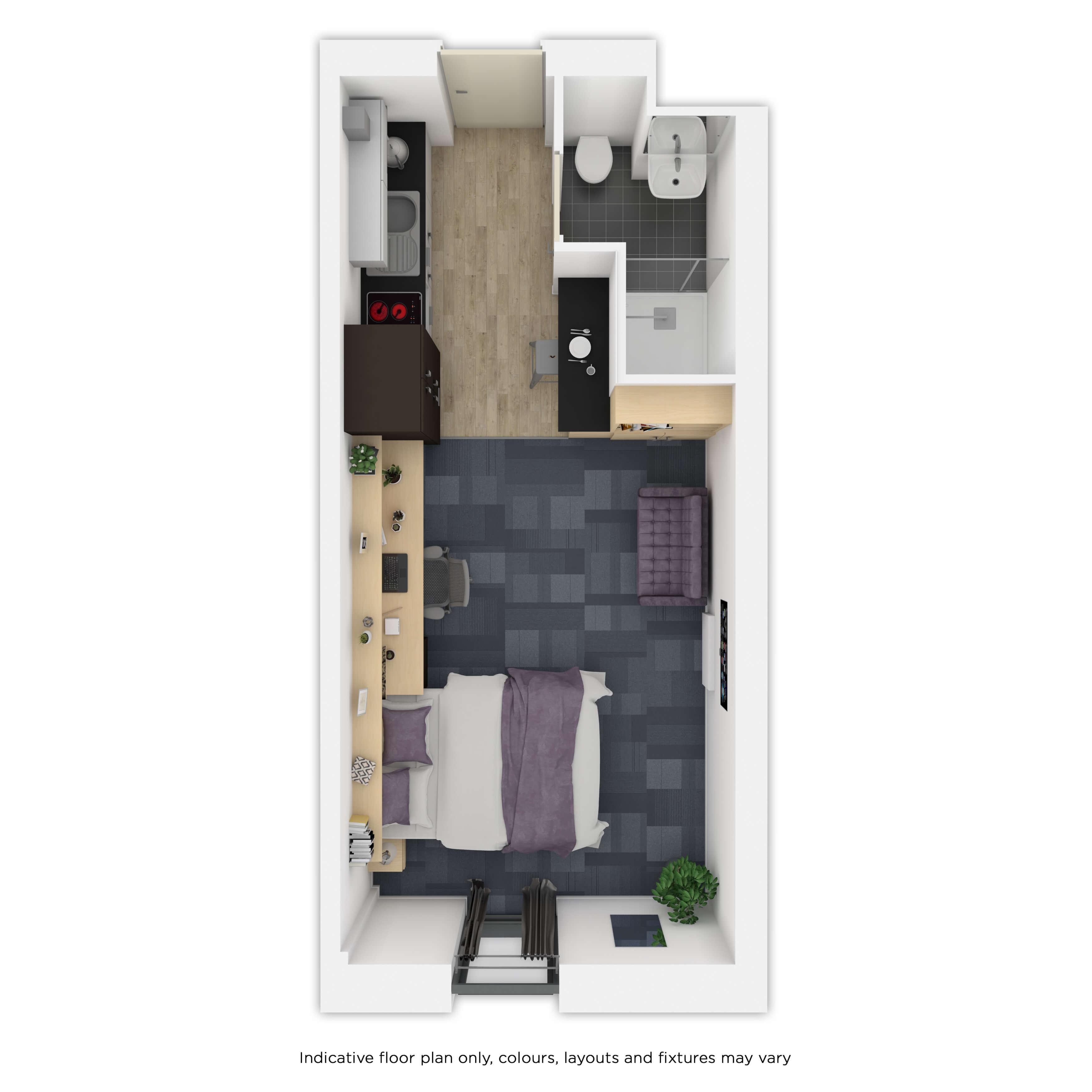 Indicative gold studio room plan