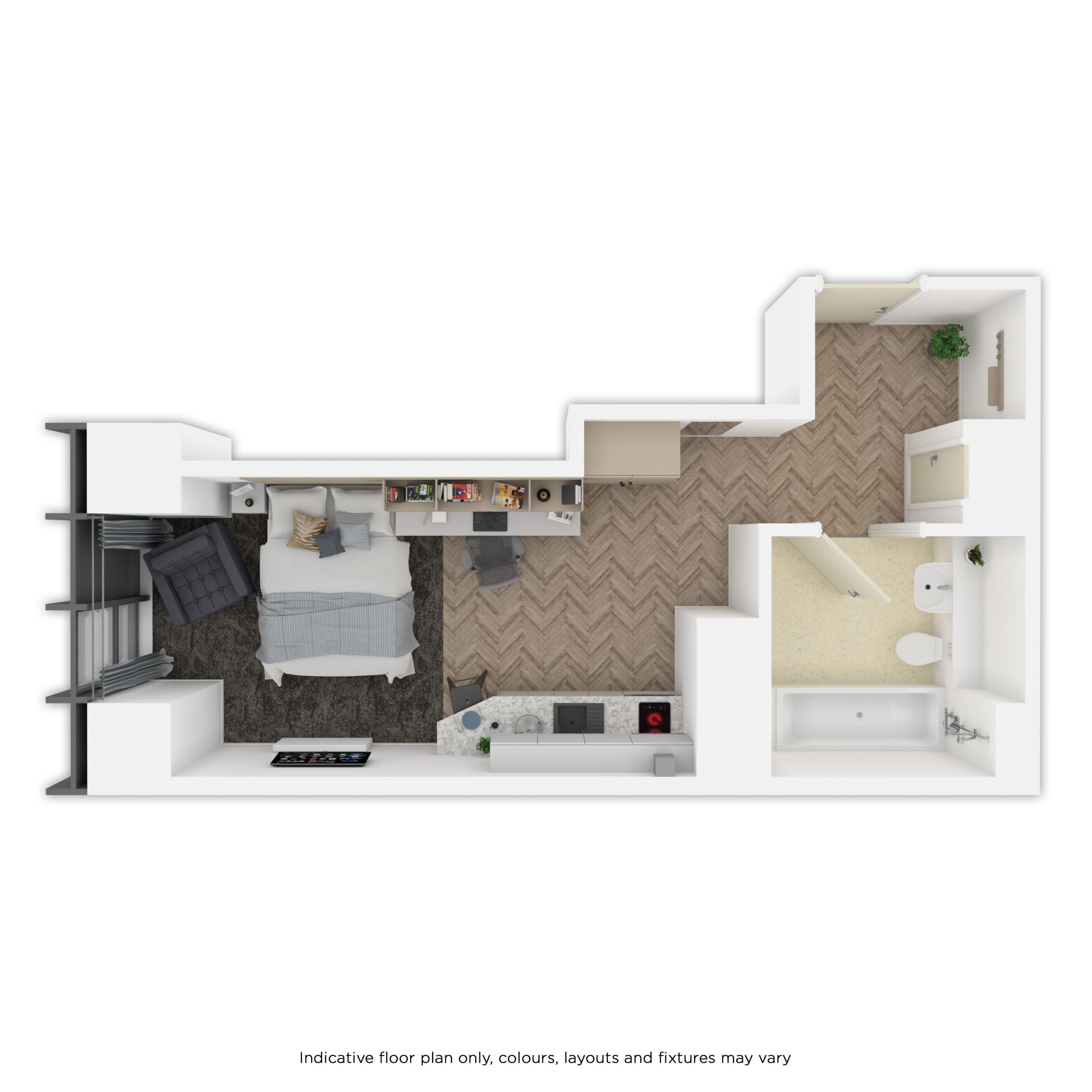 Indicative studio floor plan