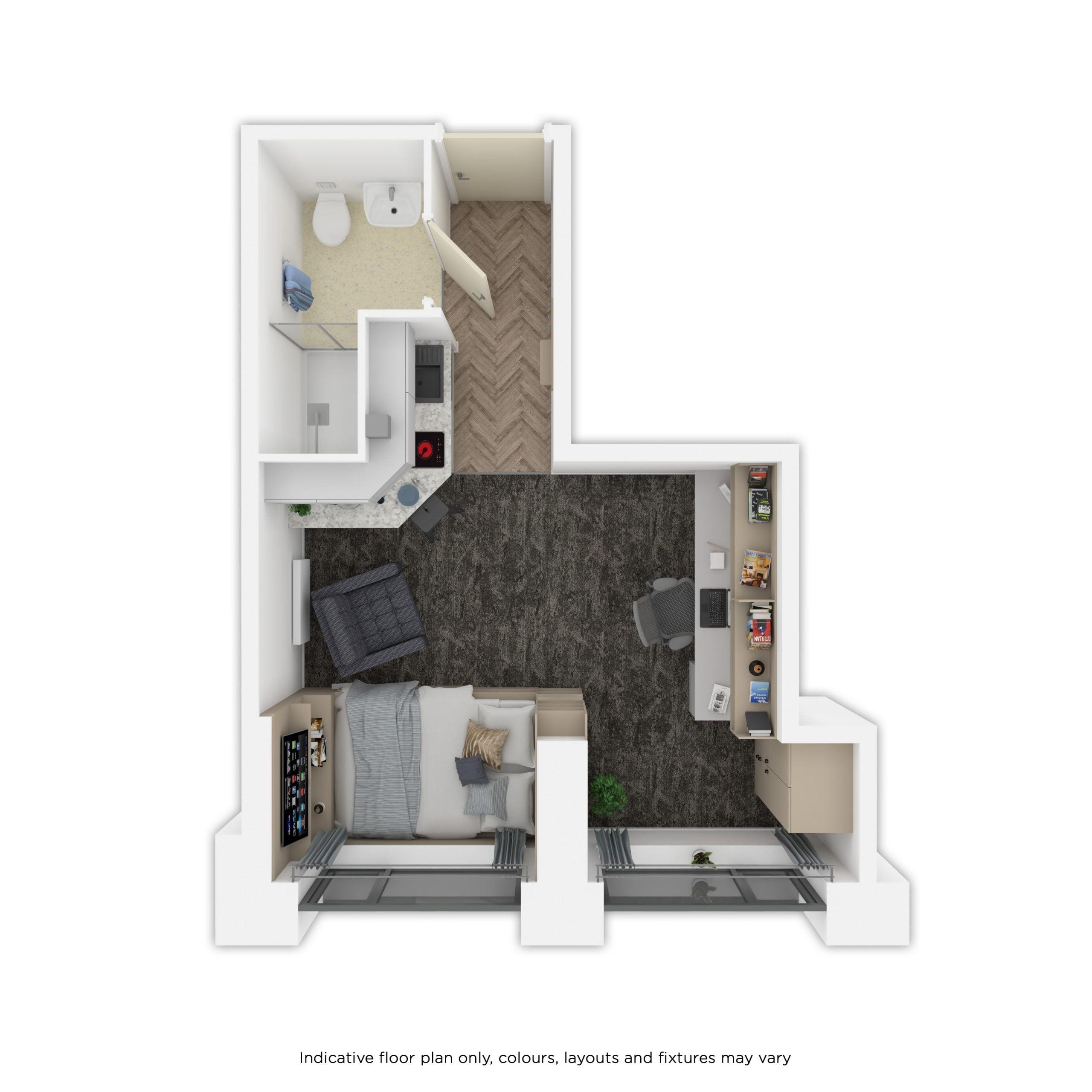 Indicative silver studio floor plan